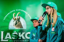 Katja Pozun during press conference of Slovenian Men and Woman national Ski Jumping team, on November 28, 2017 in Pivovarna Union, Ljubljana, Slovenia. Photo by Ziga Zupan / Sportida