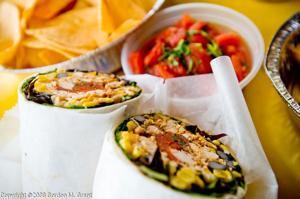 Westhampton Beach, NY - 4/5/08 -   Funcho's Fajita Grill in Westhampton Beach, NY April 5, 2008. Mexicano Chicken  Burrito.   (Photo by Gordon M. Grant)