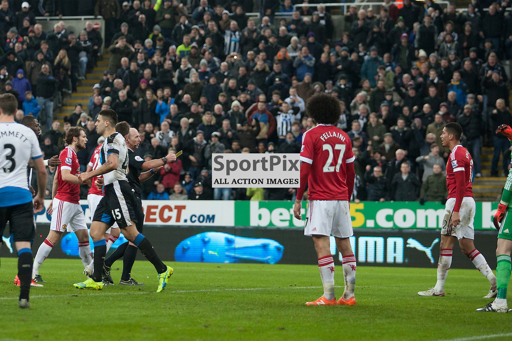 Newcastle v Manchester Utd 12 January 2016<br />Smalling shown the yellow card <br />(c) Russell G Sneddon / SportPix.org.uk