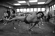 Hard morning training at Sumo stable, Ryogoku, Tokyo