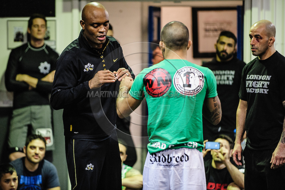 LONDON, ENGLAND, SEPTEMBER 13, 2013: Former UFC middleweight champion Anderson Silva hods a seminar inside London Fight Factory in London, England on September 13, 2013 © Martin McNeil