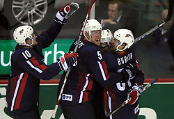 U.S. Team celebrates (Paul Martin (10), Matt Greene (5), Mark Burish (37)) at play-off round quarterfinals ice-hockey game USA  vs Finland at IIHF WC 2008 in Halifax,  on May 14, 2008 in Metro Center, Halifax, Nova Scotia,Canada. Win of Finland 3 : 2. (Photo by Vid Ponikvar / Sportal Images)