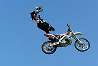 Jul 01, 2003; Anaheim, California, USA; Moto X star athlete ROBERT DISTLER executing a tremendous stunt hands free flying in the air with a full sized motobike at the opening of Disney's California Adventure &quot;X Games Experience&quot;.  Disney park has built two X-Arena's specifically for this 41 day event highlighting extreme sports for the launch of the 2003 ESPN X Games.<br />