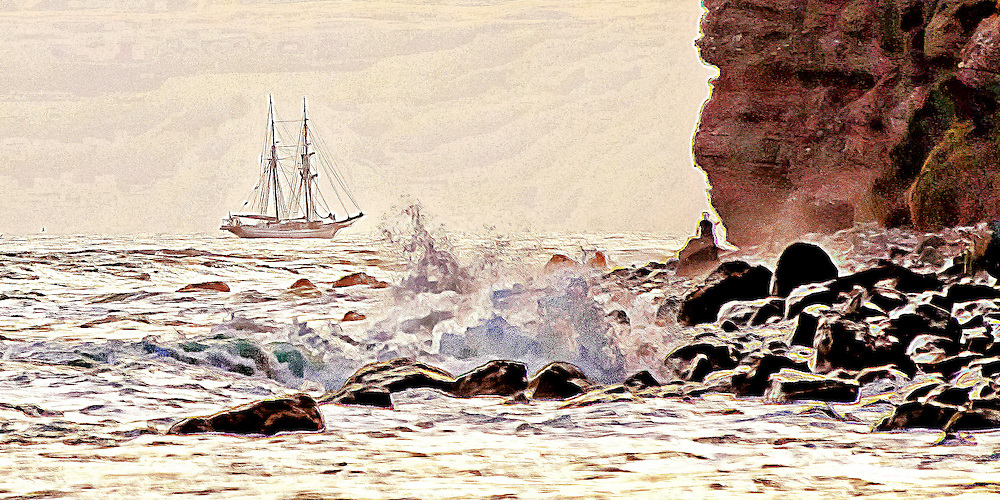 Surf, cliff and Tall Ship off Dana Point in sepia