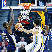 01 February 2016: Denver Nuggets guard Jamal Murray (27) goes for the layup between Memphis Grizzlies forward JaMychal Green (0) and Memphis Grizzlies forward James Ennis (8) during the Memphis Grizzlies 119-99 victory over the Denver Nuggets, at the Pepsi Center, Denver, Colorado, USA.