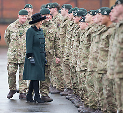 LONDON- UK- 27th Feb 2017. HRH The Duchess of Cornwall,  Royal Colonel, 4th Battalion The Rifles attends a homecoming parade and meets soldiers who have recently returned from a deployment to Iraq.  Normandy Barracks, Aldershot.<br /> Photograph by Ian Jones