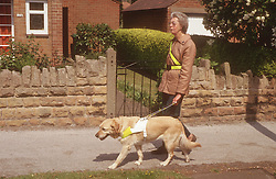 Woman with visual impairment walking along pavement with guide dog,