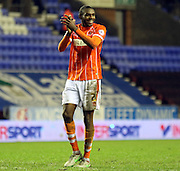 Blackpool Defender Hayden White celebrates during the Sky Bet League 1 match between Wigan Athletic and Blackpool at the DW Stadium, Wigan, England on 12 December 2015. Photo by Pete Burns.
