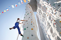 Royal Caribbean International's  Independence of the Seas, the world's largest cruise ship...Rock climbing wall