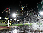 STELLENBOSCH, SOUTH AFRICA, Tuesday 20 March 2012, Thuso Phaswana at the water jump in the mens 3000m steeplechase during the Yellow Pages Series athletics meeting at the University of Stellenbosch Coetzenburg stadium..Photo by Roger Sedres/Image SA