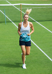 LONDON, ENGLAND - Tuesday, June 26, 2012: Maria Sharapova (RUS) practices during day two of the Wimbledon Lawn Tennis Championships at the All England Lawn Tennis and Croquet Club. (Pic by David Rawcliffe/Propaganda)