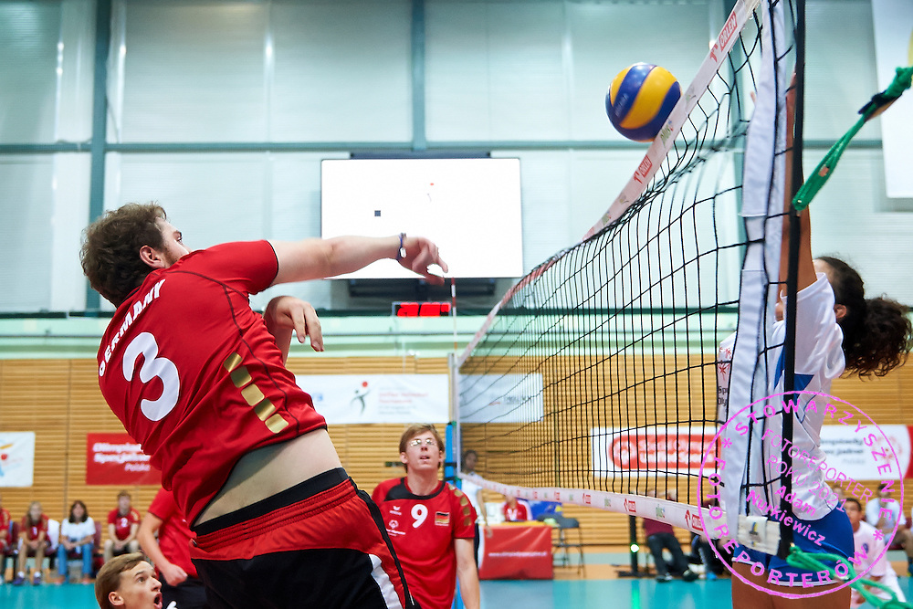 Volleyball match between SO Germany (red) and SO Serbia (white) during of The Special Olympics Unified Volleyball Tournament at Ursynow Arena in Warsaw on August 28, 2014.<br /> <br /> Poland, Warsaw, August 28, 2014<br /> <br /> For editorial use only. Any commercial or promotional use requires permission.<br /> <br /> Mandatory credit:<br /> Photo by &copy; Adam Nurkiewicz / Mediasport