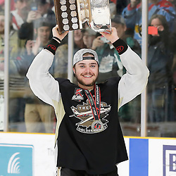 TRENTON, ON  - MAY 6,  2017: Canadian Junior Hockey League, Central Canadian Jr. &quot;A&quot; Championship. The Dudley Hewitt Cup Championship Game between The Trenton Golden Hawks and The Georgetown Raiders. Ben Scheel #19 of the Trenton Golden Hawks during post game celebrations. <br /> (Photo by Amy Deroche / OJHL Images)