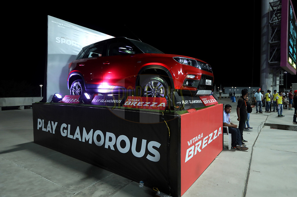 Maruti Suzuki BREZZA Car in display during match 30 of the Vivo 2017 Indian Premier League between the Rising Pune Supergiants and the Kolkata Knight Riders  held at the MCA Pune International Cricket Stadium in Pune, India on the 26th April 2017<br /> <br /> Photo by Sandeep Shetty - Sportzpics - IPL