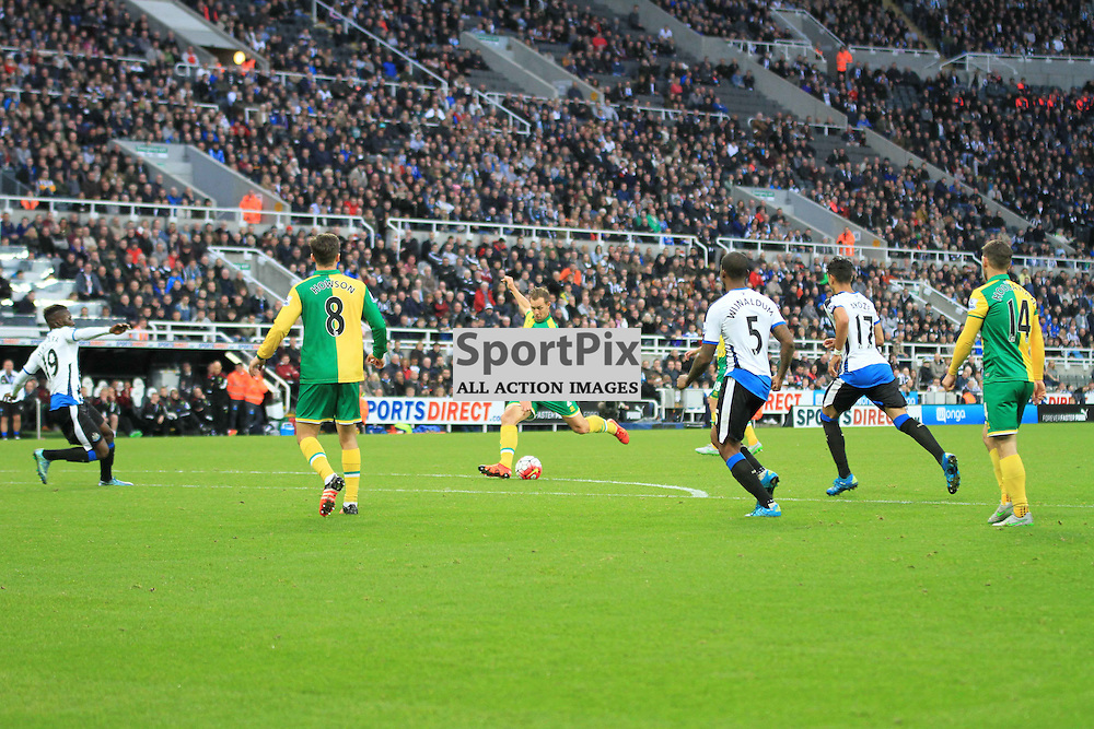 Newcastle United V Norwich City Premier League 18th October 2015; Steven Whittaker (Norwich, 2) takes a shot at goal during the Newcastle V Norwich match, played at St. James Park, Newcastle.