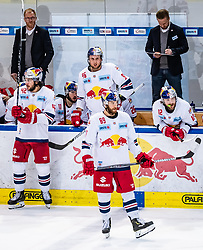09.04.2019, Eisarena, Salzburg, AUT, EBEL, EC Red Bull Salzburg vs Vienna Capitals, Halbfinale, 6. Spiel, im Bild v.l.: Layne Viveiros (EC Red Bull Salzburg), Mario Huber (EC Red Bull Salzburg), Florian Baltram (EC Red Bull Salzburg), Alexander Cijan(EC Red Bull Salzburg) // during the Erste Bank Icehockey 6th semifinal match between EC Red Bull Salzburg vs Vienna Capitals at the Eisarena in Salzburg, Austria on 2019/04/09. EXPA Pictures © 2019, PhotoCredit: EXPA/ JFK