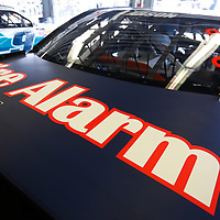 The car of Kyle Larson (42) sits in the garage before practice for the Coca-Cola Firecracker 250 at Daytona International Speedway in Daytona Beach, Florida.