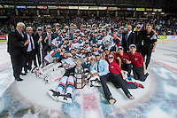 KELOWNA, CANADA - MAY 13: The Kelowna Rockets celebrate the WHL Championship title after defeating the Brandon Wheat Kings in four straight games of the final series on May 13, 2015 during game 4 of the WHL final series at Prospera Place in Kelowna, British Columbia, Canada.  (Photo by Marissa Baecker/Shoot the Breeze)  *** Local Caption *** Championship