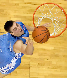 North Carolina forward Tyler Hansbrough (50) shoots a layup against UVA.  The the #5 ranked North Carolina Tar Heels defeated the Virginia Cavaliers 83-61 in NCAA Basketball at the John Paul Jones Arena on the Grounds of the University of Virginia in Charlottesville, VA on January 15, 2009.