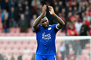 Wes Morgan (5) of Leicester City applauds the travelling fans at full time after a 0-0 draw during the Premier League match between Bournemouth and Leicester City at the Vitality Stadium, Bournemouth, England on 30 September 2017. Photo by Graham Hunt.