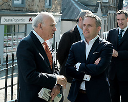 In front of the iconic Forth Rail Bridge, Liberal Democrat leader Vince Cable, former Change UK lead candidate David MacDonald, Lib Dem European election candidates and party activists unveiled a new election poster calling on Remain voters to unite to stop Brexit.<br /> <br /> Pictured: Sir Vince Cable MP and Alex Cole-Hamilton MSP<br /> <br /> Alex Todd | Edinburgh Elite media