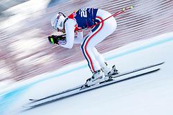 KITZBUHEL AUSTRIA. 22-01-2011. Adrien Theaux (FRA) speeds down the course competing in the 71st Hahnenkamm downhill race part of  Audi FIS World Cup races in Kitzbuhel Austria.  Mandatory credit: Mitchell Gunn