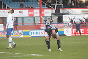 Peter MacDonald celebrates after scoring Dundee's second goal against his former club - Dundee v Greenock Morton, SPFL Championship at <br /> Dens Park<br /> <br />  - &copy; David Young - www.davidyoungphoto.co.uk - email: davidyoungphoto@gmail.com
