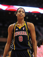 Aug 8, 2010; Phoenix, AZ, USA; Indiana Fever center Tammy Sutton-Brown reacts during the first half in at US Airways Center.  The Fever defeated the Mercury 104-82.  Mandatory Credit: Jennifer Stewart-US PRESSWIRE