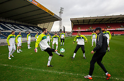 Samir Handanovic and Vid Belec during practice session of Slovenia National football team One day before EURO 2012 Quaifications game between National teams of Slovenia and Northern Ireland, on March 28, 2011, in Windsor Park Stadium, Belfast, Northern Ireland, United Kingdom. (Photo by Vid Ponikvar / Sportida)