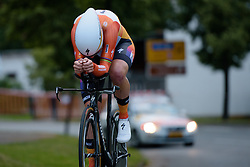 Head down and powering to the stage win and race lead, Ellen van Dijk (Boels Dolmans) at Thüringen Rundfarht 2016 - Stage 4 a 19km time trial starting and finishing in Zeulenroda Triebes, Germany on 18th July 2016.