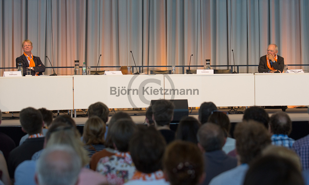 Berlin, Germany - 27.05.2017<br /> <br /> Reiner Hoffmann, Chairman of the German Trade Union Confederation (DGB) and Federal Minister of Finance Wolfgang Schaeuble. German Protestant Church Assembly (&quot;Deutscher Evangelischer Kirchentag&rdquo;) in Berlin. <br /> <br /> Reiner Hoffmann, Vorsitzender des Deutschen Gewerkschaftsbundes (DGB) und Bundesfinanzminister Wolfgang Schaeuble. Deutscher Evangelischer Kirchentag 2017 in Berlin. <br /> <br /> Photo: Bjoern Kietzmann