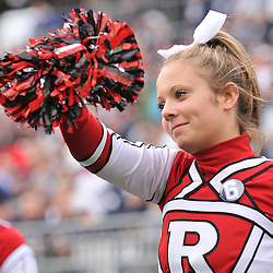 Oct 31, 2009; East Hartford, CT, USA; A Rutgers cheerleader performs during second half Big East NCAA football action in Rutgers' 28-24 victory over Connecticut at Rentschler Field.