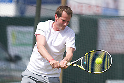 LIVERPOOL, ENGLAND - Friday, June 21, 2013: A ProAm during Day Two of the Liverpool Hope University International Tennis Tournament at Calderstones Park. (Pic by David Rawcliffe/Propaganda)
