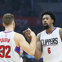 21 December 2015: Los Angeles Clippers forward Blake Griffin (32) and Los Angeles Clippers center DeAndre Jordan (6) are seen during the Oklahoma City Thunder 100-99 victory over the Los Angeles Clippers, at the Staples Center, Los Angeles, California, USA.