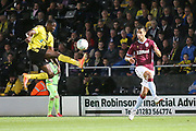 Burton Albion forward Lucas Akins intercepts (10) during the second round or the Carabao EFL Cup match between Burton Albion and Aston Villa at the Pirelli Stadium, Burton upon Trent, England on 28 August 2018.