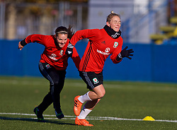 SAINT PETERSBURG, RUSSIA - Monday, October 23, 2017: Wales' Lauren Dykes and Jessica Fishlock during a training session at the Petrovsky Minor Sport Arena ahead of the FIFA Women's World Cup 2019 Qualifying Group 1 match between Russia and Wales. (Pic by David Rawcliffe/Propaganda)