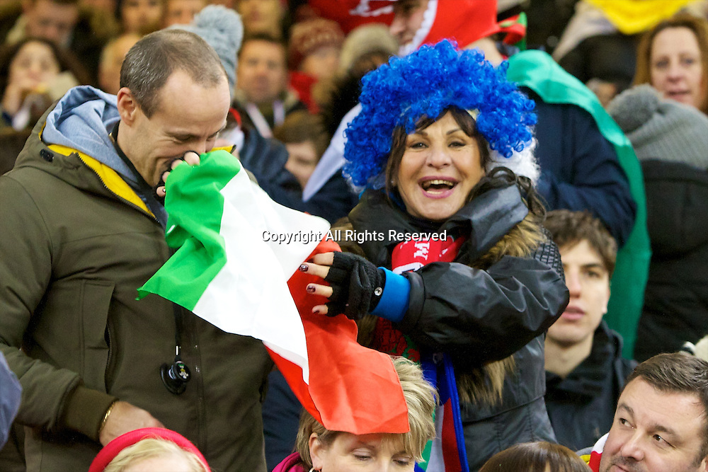 01.02.2014 Cardiff, Wales. An Italy fan before the Six Nations game between Wales and Italy from the Millennium Stadium.