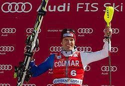 Winner of 50th Vitranc Cup 2011 Manfred Moelgg of Italy celebrates during flower ceremony after the Men's Slalom of FIS Ski World Cup Alpine Kranjska Gora, on March 6, 2011 in Vitranc/Podkoren, Kranjska Gora, Slovenia.  (Photo By Vid Ponikvar / Sportida.com)