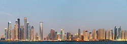 Evening panorama of Marina and Jumeirah Beach Residence (JBR) districts in Dubai United Arab Emirates
