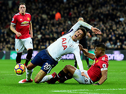 Luis Antonio Valencia of Manchester United brings down Dele Alli of Tottenham Hotspur in the box but no penalty is given - Mandatory by-line: Alex James/JMP - 31/01/2018 - FOOTBALL - Wembley Stadium - London, England - Tottenham Hotspur v Manchester United - Premier League