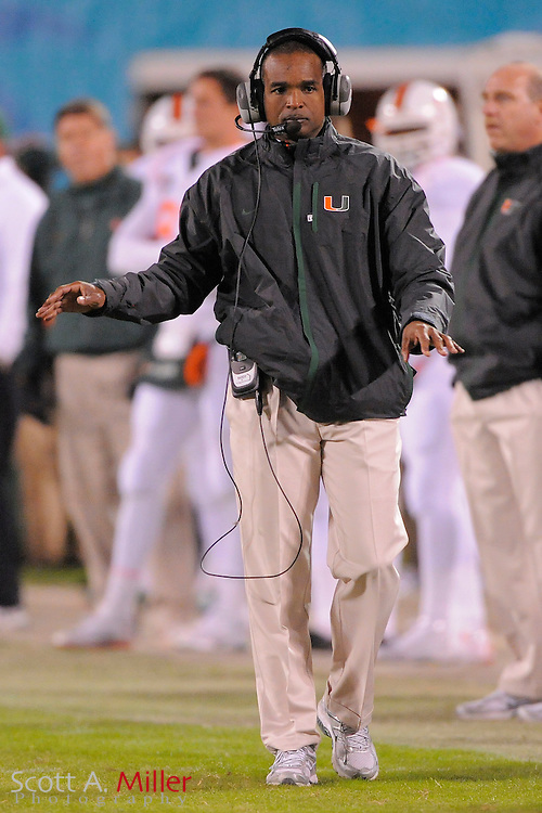 Dec 29, 2009; Orlando, FL, USA; Miami Hurricanes coach Randy Shannon during his team's 20-14 loss to the Wisconsin Badgers in the 2009 Champs Sports Bowl at the Citrus Bowl. ..© 2009 Scott A. Miller
