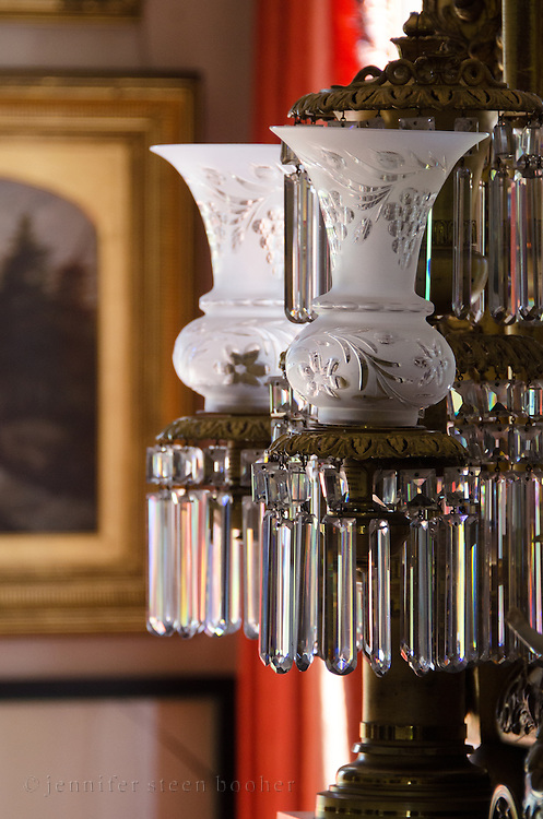 Crystal prisms on a pair of lamps, Woodlawn Museum, Ellsworth, Maine.