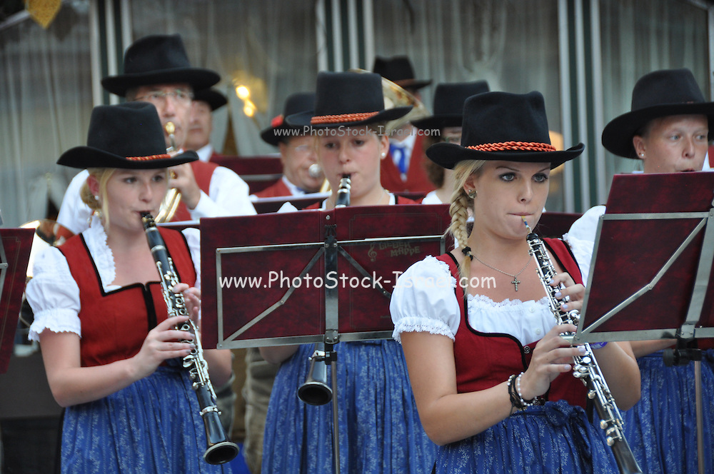 Local folklore band musicians in trditional dress, Maria Alm, Austria
