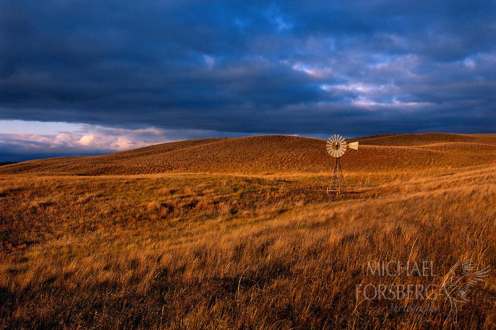 Windmill in Nebraska Sandhills pasture.