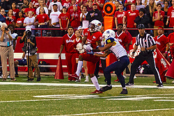 NORMAL, IL - September 21: Charles Woods intercepts a pass in tended for Brandon Porter during a college football game between the ISU (Illinois State University) Redbirds and the Northern Arizona University (NAU) Lumberjacks on September 21 2019 at Hancock Stadium in Normal, IL. (Photo by Alan Look)