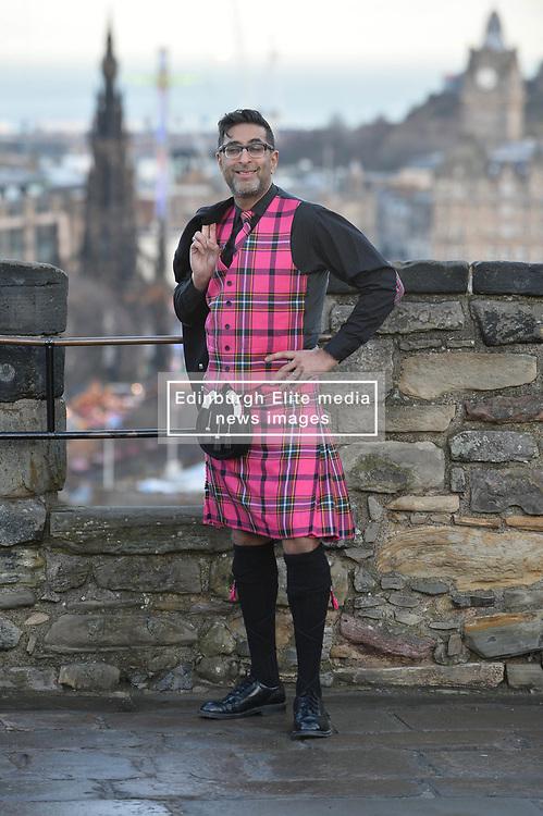 'Still Game' actor Sanjeev Kohli sports the brand new Hogmanay tartan on a photocall on the battlements of Edinburgh Castle.<br /> <br /> © Dave Johnston/ EEm