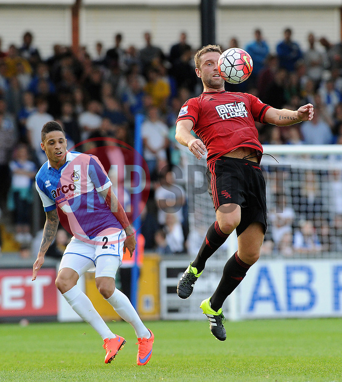 Rickie Lambert of West Brom is challenged by Daniel Leadbitter of Bristol Rovers - Mandatory by-line: Neil Brookman/JMP - 07966386802 - 31/07/2015 - SPORT - FOOTBALL - Bristol,England - Memorial Stadium - Bristol Rovers v West Brom - Pre-Season Friendly