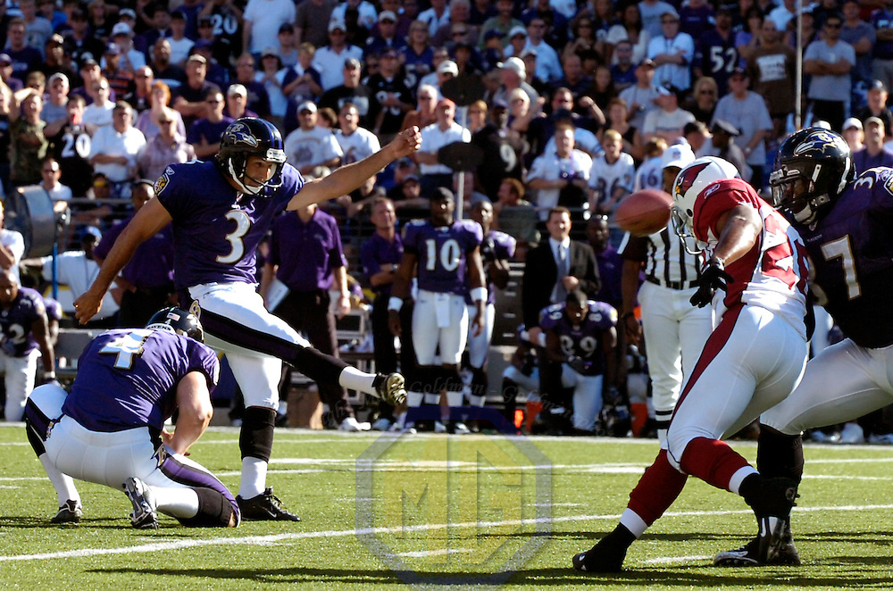 23 September 2007:  Baltimore Ravens kicker Matt Stover (3) kicks the game winning 46-yard field goal with no time remaining in the 4th quarter against the Arizona Cardinals.  The Ravens defeated the Cardinals 26-23 at M&T Bank Stadium in Baltimore, Md.
