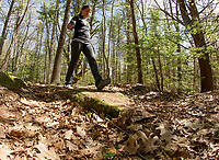 Trail Yoga at Prescott Farms Environmental Learning Center.  Karen Bobotas for the Laconia Daily Sun