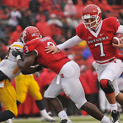 Dec 5, 2009; Piscataway, NJ, USA; Rutgers quarterback Tom Savage (7) rushes for a two-point conversion during second half NCAA Big East college football action in West Virginia's 24-21 victory over Rutgers at Rutgers Stadium.